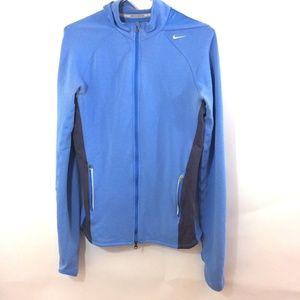 NIKE Running Women Blue Athletic Hooded Jacket M